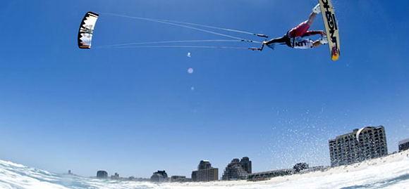 Kitesurfing at Blouberg Beach, Cape Town