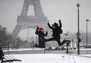 Backpackers at the Eiffel Tower, Paris
