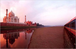 Maharajah Express Train Passing by the Tah Mahal, India