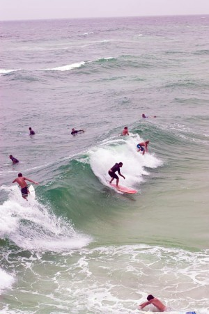 Backpackers Surfing