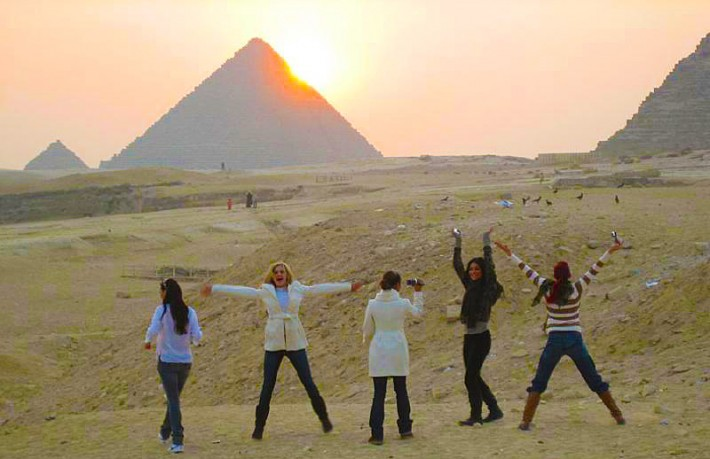 Girls at Pyramids, Egypt