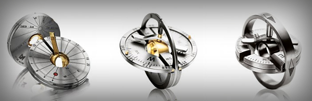 GEAR : Gold / Titanium Collapsible Compass & Sundial Pendant